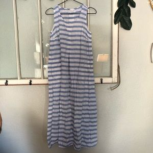 Blue and white striped linen maxi dress